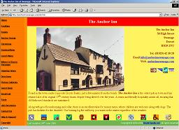 Home Page of Anchor Inn Swanage Website
